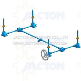 4 post lift system with handwheel 3d cad model